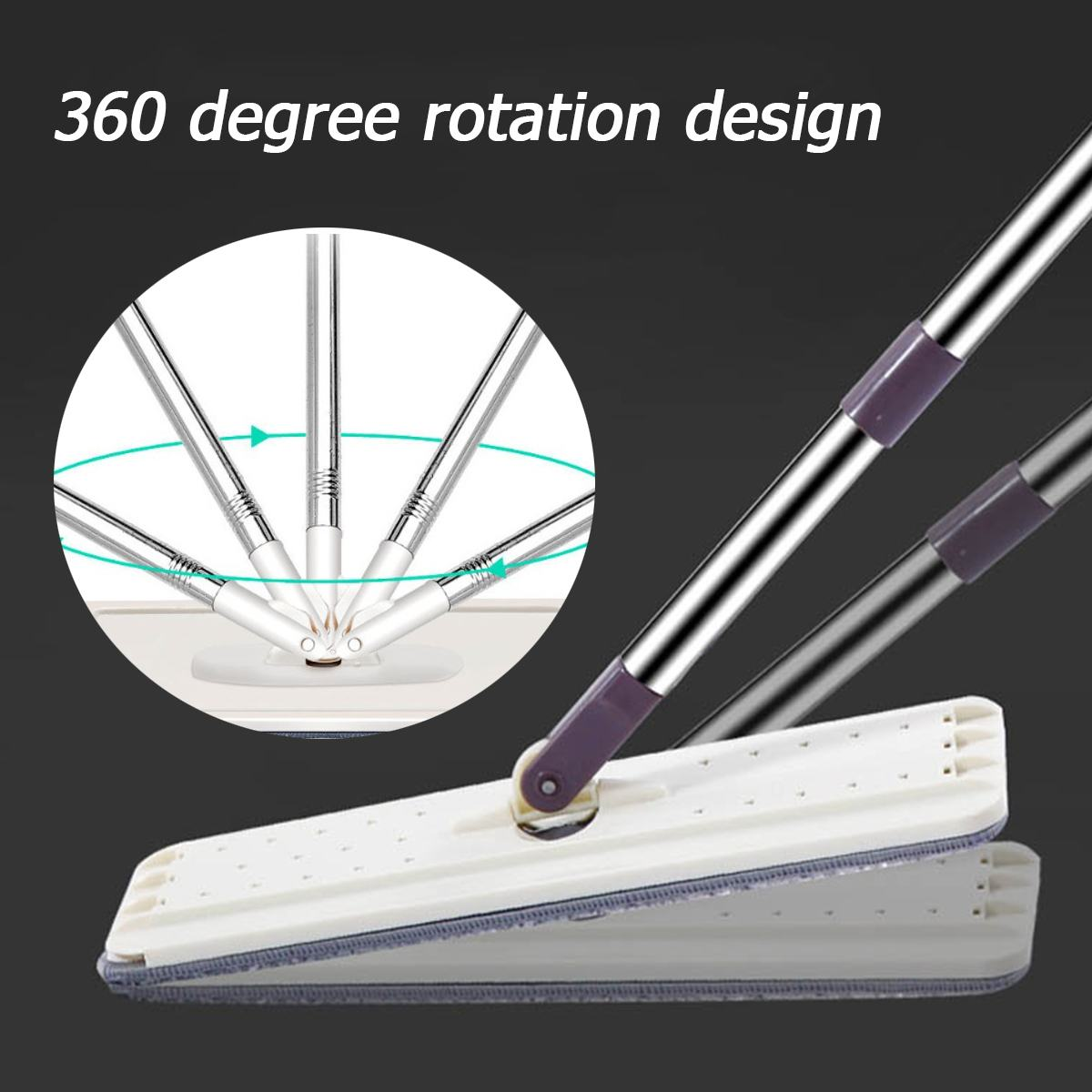 Hand-Free Spin Mop for Automatic Wet or Dry Mopping in 360-Degree Rotation Structure Design 3