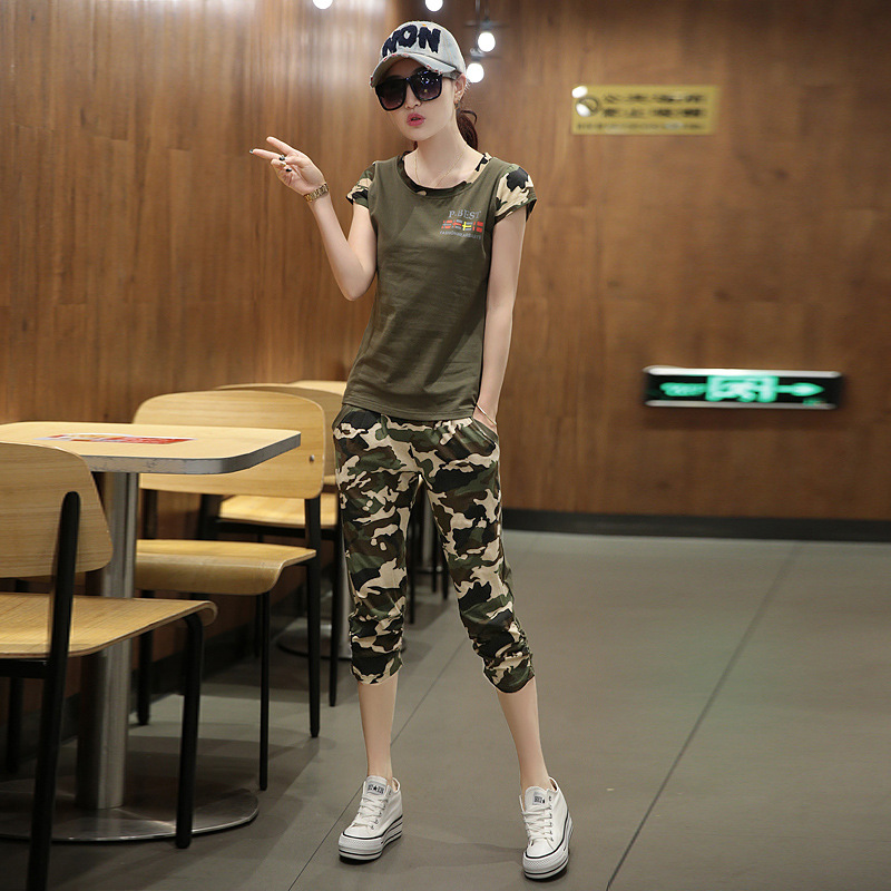 Figure Rong Casual Sports WOMEN'S Suit 2019 Summer New Style Two-Piece Set-Style Debutante Fashion Crew Neck Camouflage Shorts