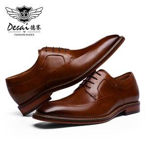 Image 4 - Мужские высокие кроссовки до щиколотки DESAI, Повседневная Свадебная обувь из натуральной кожи, 2019