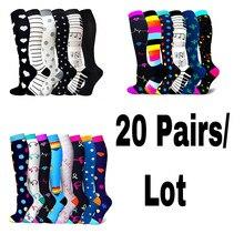 20 Pairs/Lot Dropship Compression Stockings Fit For Sports Prevent Varicose Veins Nurse Socks Football Running Socks Men Women