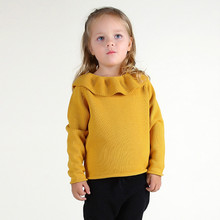 Funfeliz Baby Girls Sweaters Kids Ribbed Sweater Autumn Winter Turtleneck for Children Tops Pullover Knit Cardigan 12M-5Y