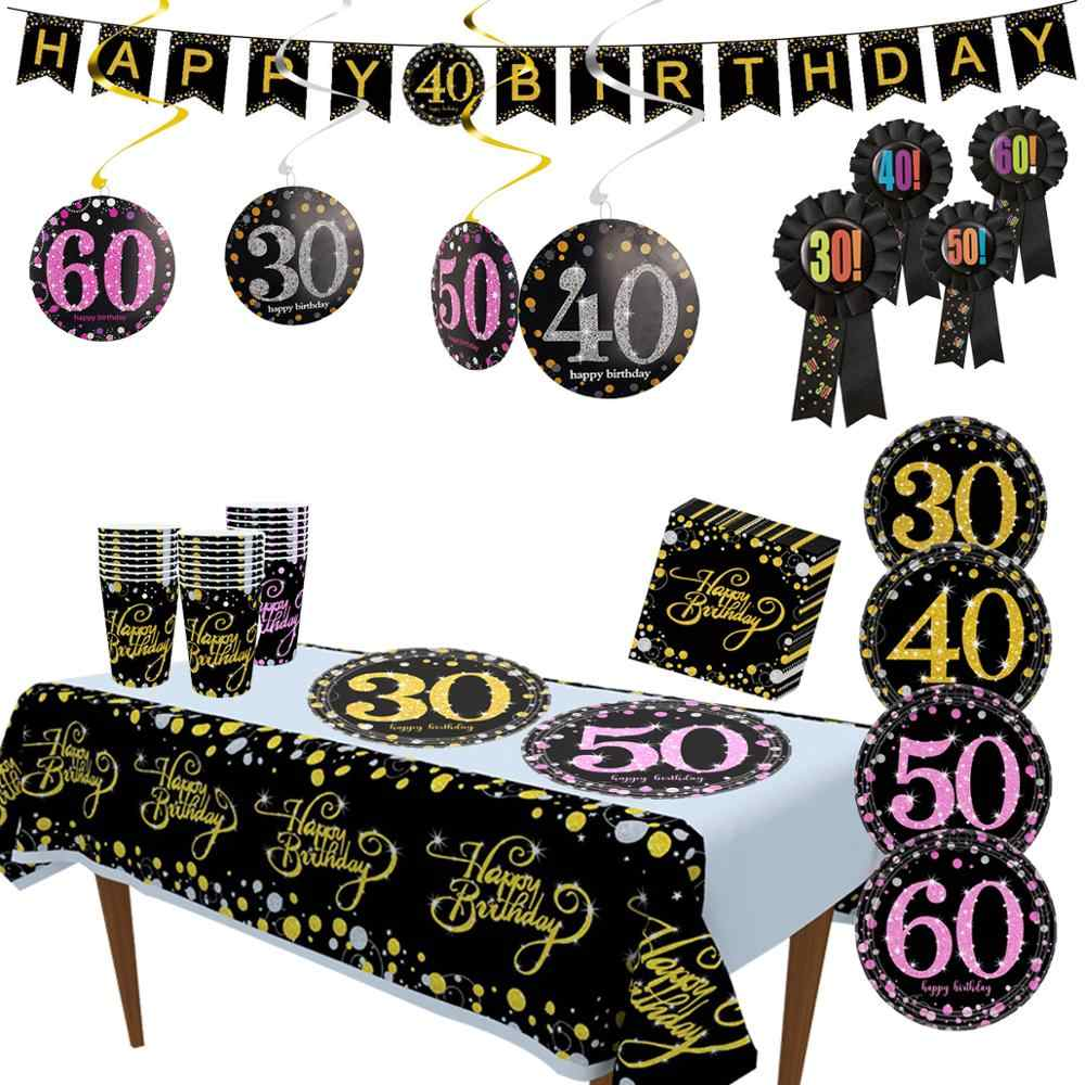 Taoup 30 40 50 60 Birthday Party Tableware Disposable Tableware Birthday Party Decorations Adult Plate Tablecloth DIY Dinner Set