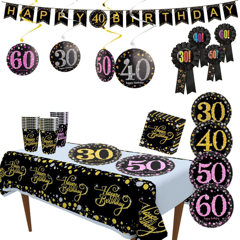 Taoup 30 40 50 60 посуда для вечеринки в честь Дня Рождения одноразовая посуда на день рождения украшения для взрослых тарелка скатерть DIY набор по...