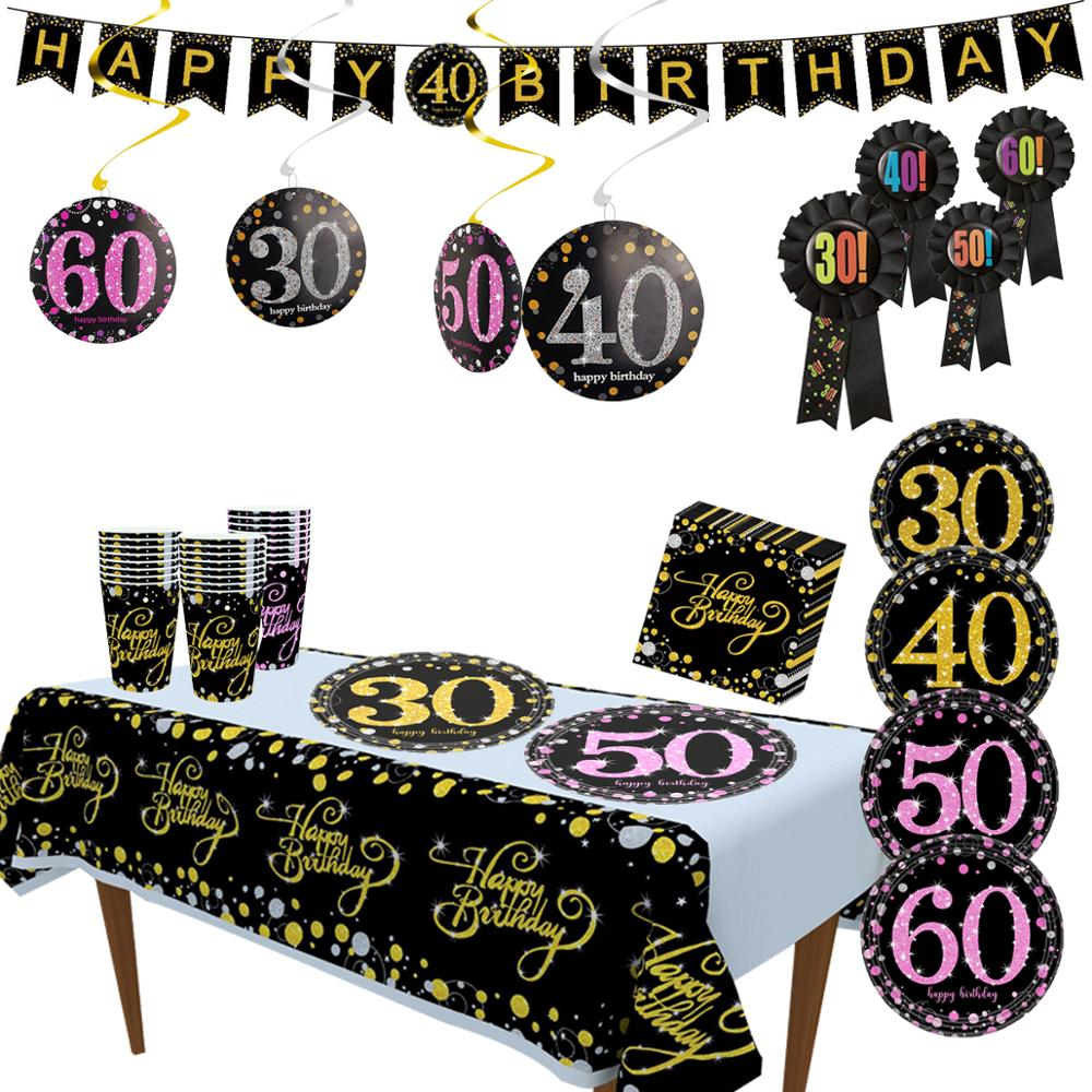 Taoup 30 40 <font><b>50</b></font> 60 Birthday Party Tableware Disposable Tableware Birthday Party Decorations Adult Plate Tablecloth DIY Dinner Set image