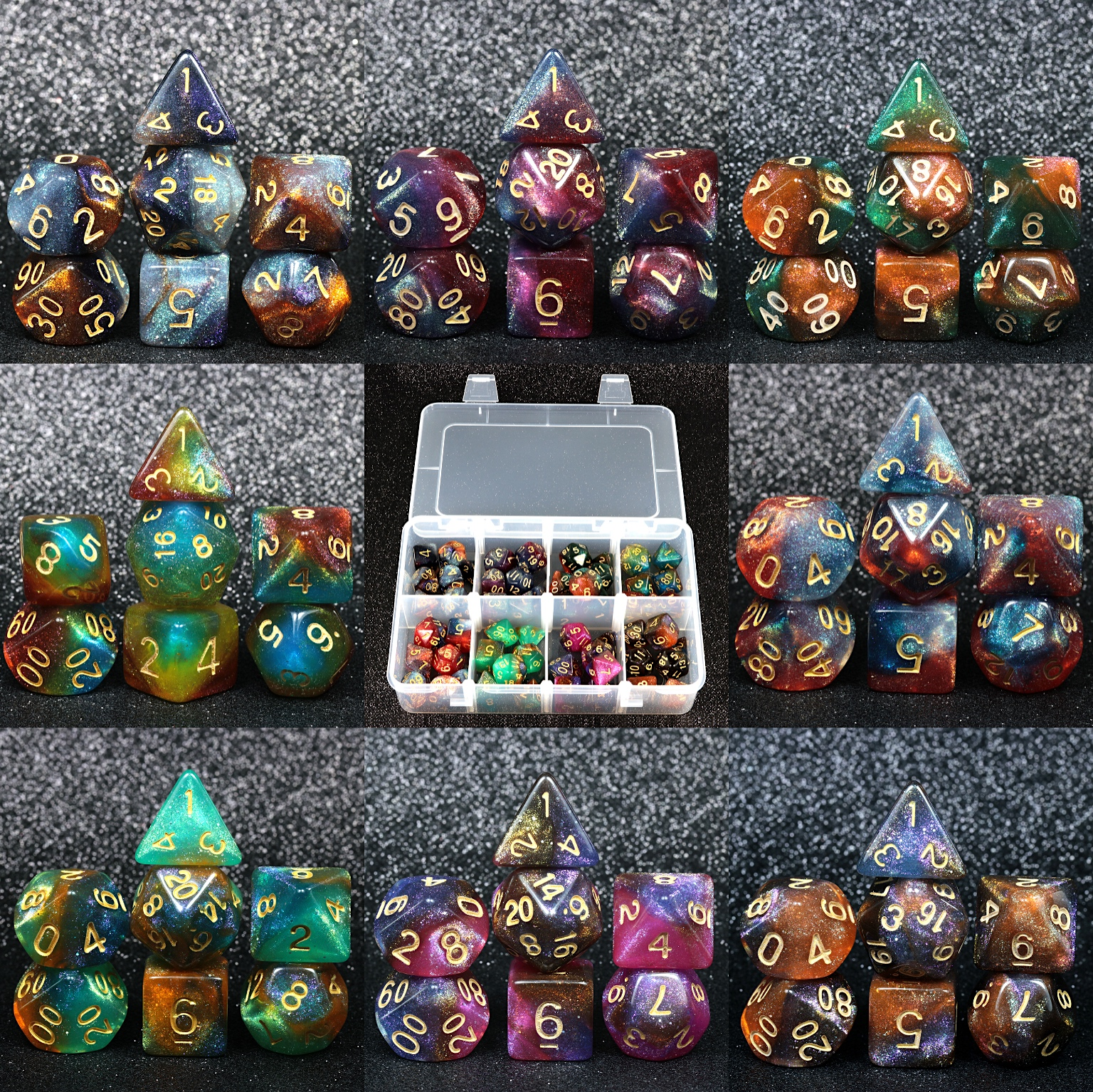 56pcs / Box Collection Universe Galaxy DND Dice Universe Galaxy Dice DnD RPG Games Hobbies Dungeon And Dragons Dice