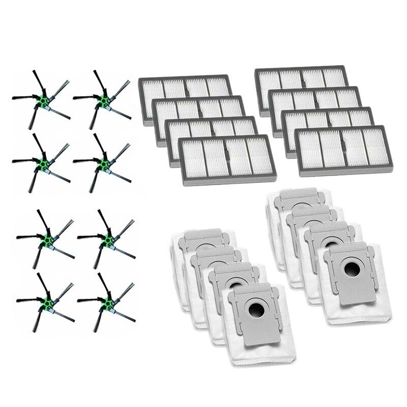 8 brosse latérale + 8 filtre adapté + 8 sac à poussière pour IROBOT ROOMBA S9 S9 + ing Robot aspirateur accessoires