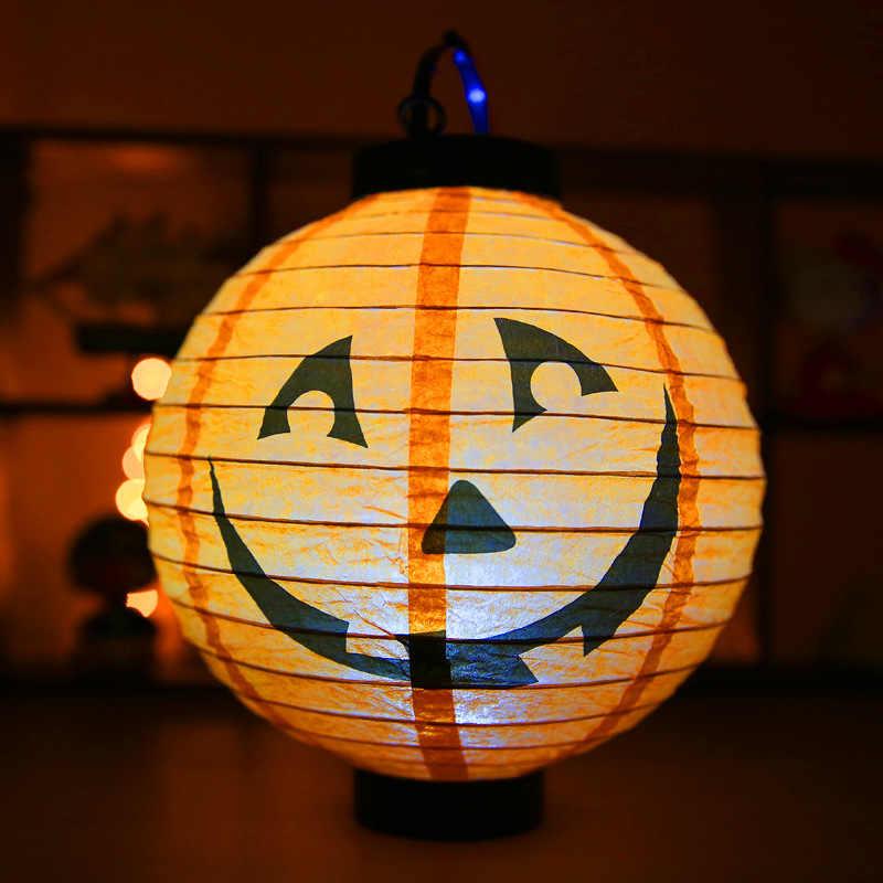 ตกแต่งฮาโลวีนกระดาษ LED แขวนฟักทองโคมไฟโคมไฟตกแต่งฮาโลวีนสำหรับ Home สยองขวัญโคมไฟอุปกรณ์