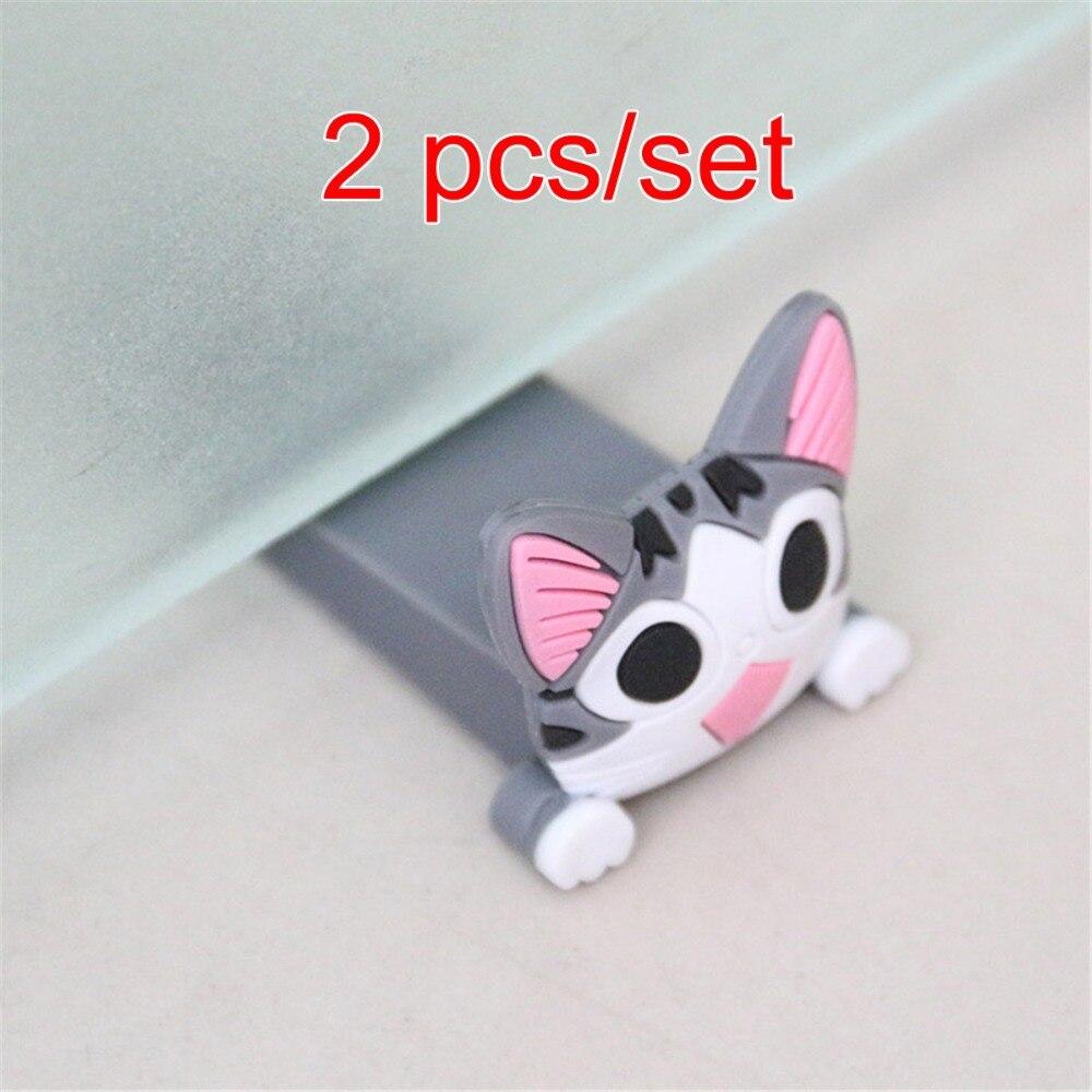 2 Pcs/set Baby Satefy Door Stopper Finger Protection Corner Guards Cartoon Children Door Stoppers Holder Silicone  Safe