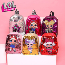 LOL Surprise Dolls New Kids Sequins Tide School Backpacks for Girls Double Zipper Cute Bag Toys Children Birthday Gifts