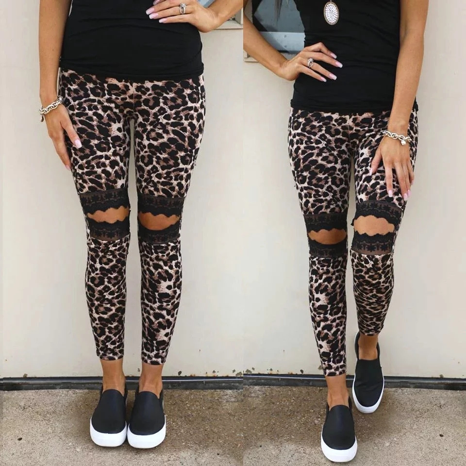 2020 New Design Women Leopard Ripped Lace Pants Cheetah Soft  Leggings