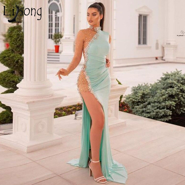 Hot Price A919 Illusion Prom Dresses Dubai Long Sleeves Evening Gowns Mermaid Dress Robe De Soiree Woman Party Night Gown Abendkleider 2020 Cicig Co