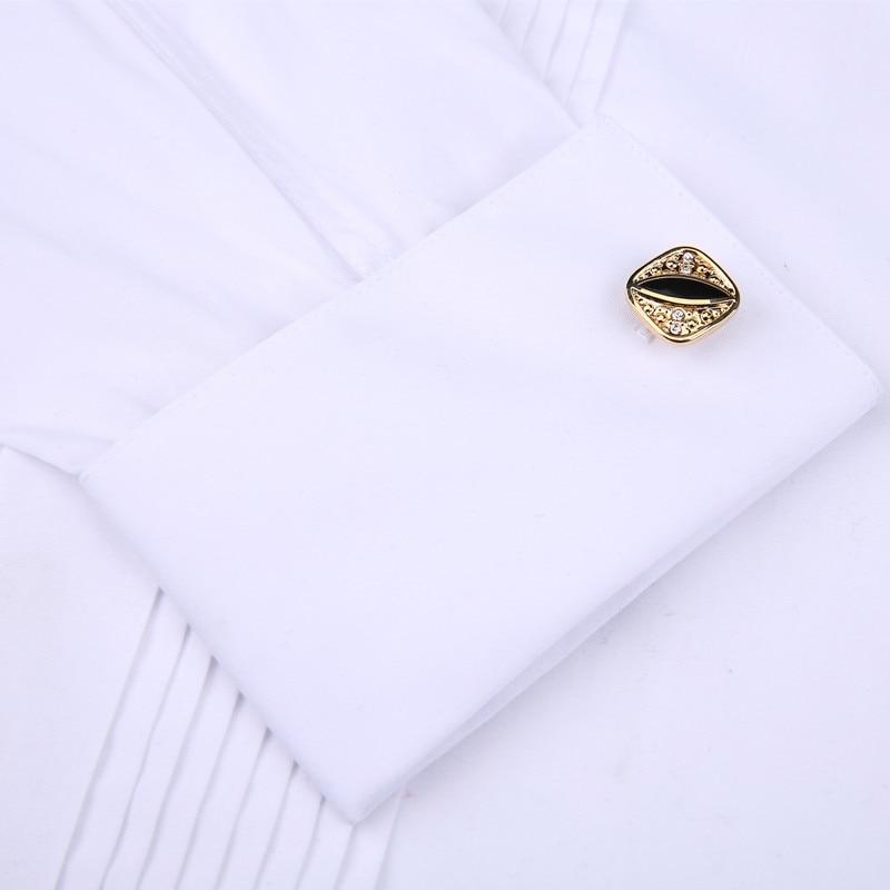 Image 3 - Men Wedding Tuxedo Long Sleeve Dress Shirts French cufflinks Swallowtail Fold Dark button design Gentleman shirt White Red BlackTuxedo Shirts   -