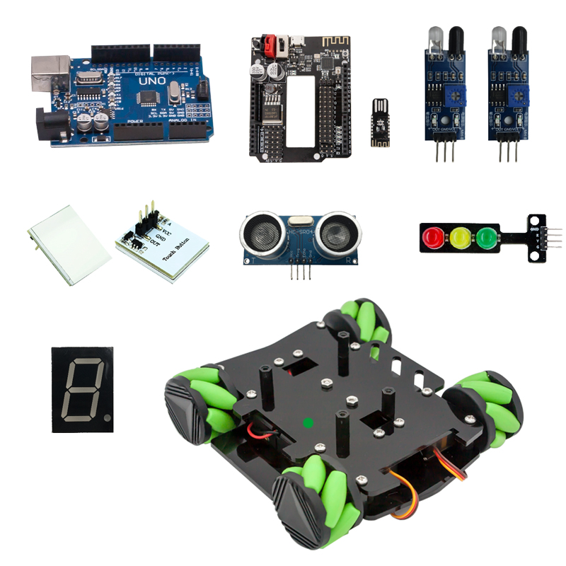 DIY Obstacle Avoidance Smart Programmable Robot Car Educational Learning Kit With Mecanum Wheels For Arduino - Set A