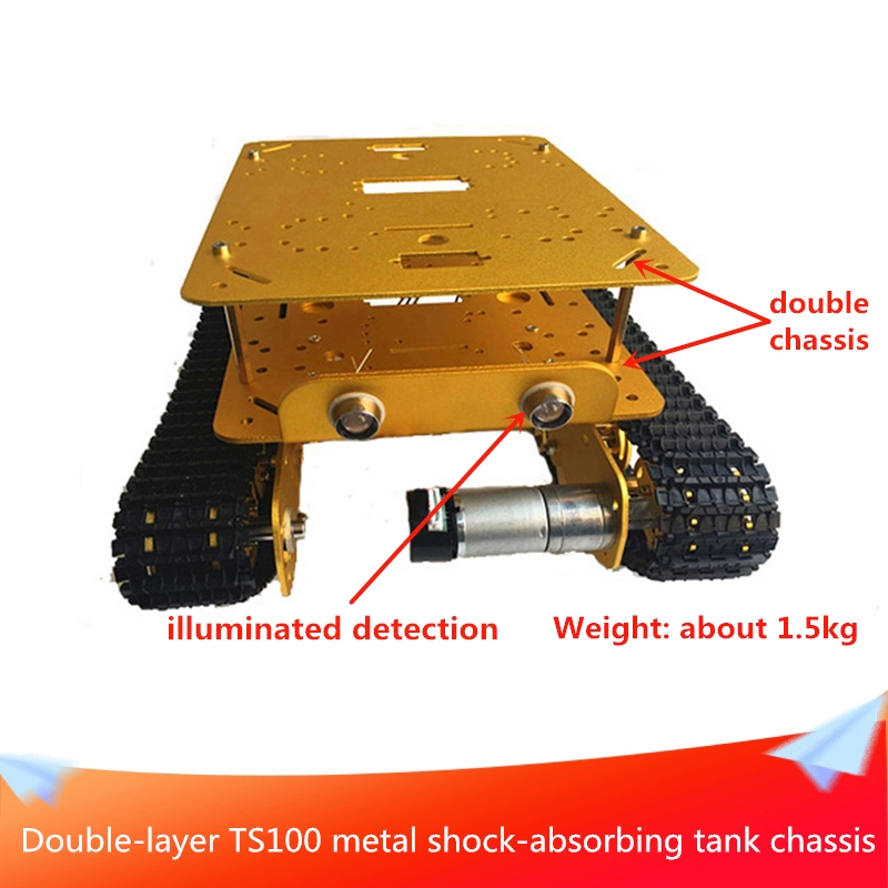 Double-layer <font><b>TS100</b></font> Shock-absorbing Metal RC Robot <font><b>Tank</b></font> Chassis Send DC Motor Installation Tools DIY Mobile Handling Platform image