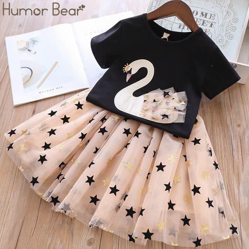 Humor Bär Mädchen Kleidung Sets Kinder Kleidung Marke Sommer Mode Studenten T-Shirt + Sterne Kleid 2Pcs Anzug Baby Kinder kleidung