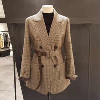 Vintage Double boutonnage bureau dames Plaid Blazer avec ceinture à manches longues pied de poule costume manteau veste femmes blazers femme