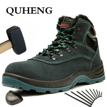 Boots Steel QUHENG Men Puncture-Proof-Boots Work-Shoes Protective Safety Winter Men's