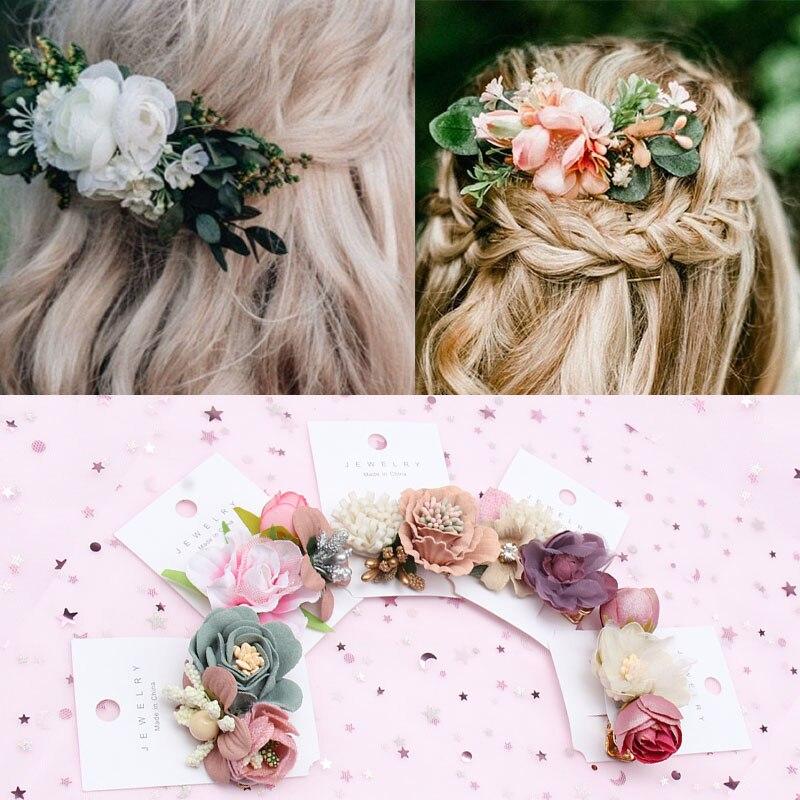 New Floral Hair Clips For Hair Women Boho Hairpins Artificial Flower Barrettes Hair Bows Bride Girls Hair Accessories