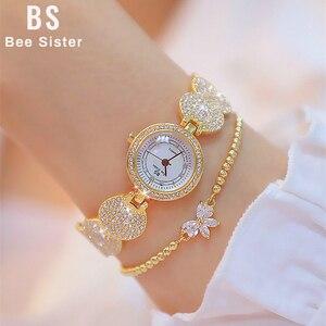 Image 1 - Женские кварцевые наручные часы, модные золотистые наручные часы из нержавеющей стали с бриллиантами, женские наручные часы, браслет Wtach для девочек, 2019