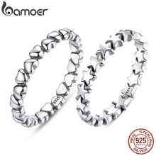 Finger-Ring Stackable Korean Jewelry Heart 925-Sterling-Silver Forever Bamoer Love Gift