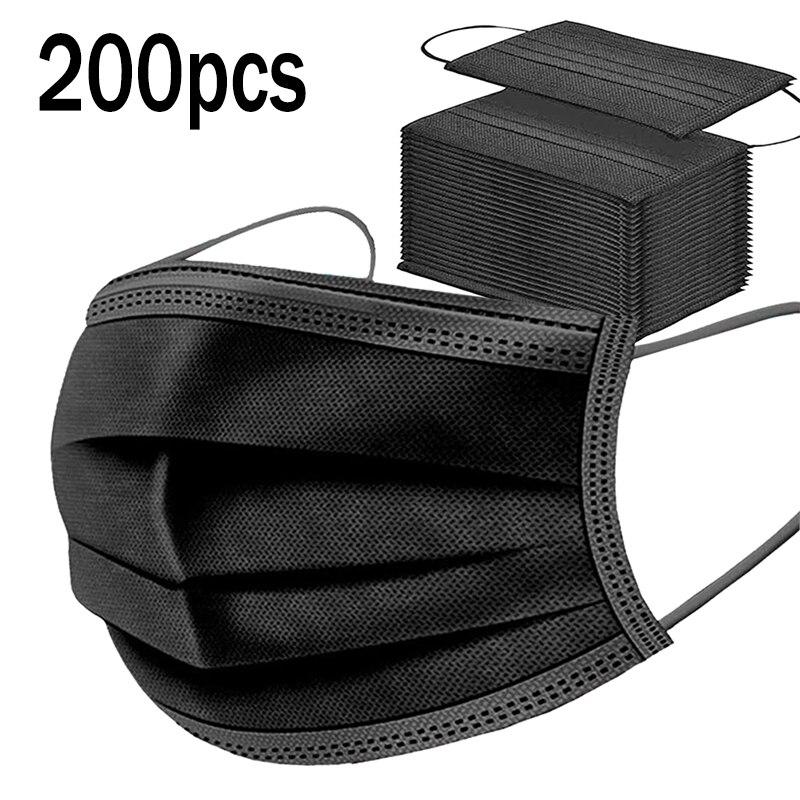 Snelle Levering Hot Koop 3-Layer Masker 10 50 200 Pcs Gezicht Mond Maskers Non-woven Wegwerp Anti-Dust Meltblown Doek Maskers