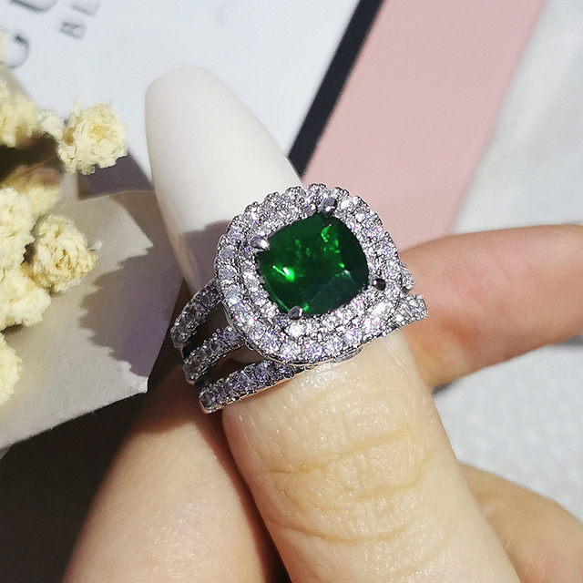 Trendy Luxury Big 925 Sterling Silver Engagement Ring For Women And Ladys Christmas Gifts With Cushion Zirconia Wedding R4898 5