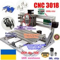 Ukr mini máquina roteadora cnc 3018  área de trabalho 300x180x45mm 3 eixos cnc máquina de fresagem pcb roteador de madeira