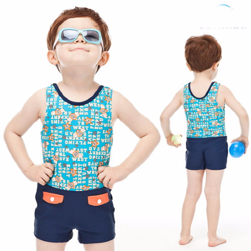 KID'S Swimwear BOY'S Baby Children 1-10-Year-Old One-piece Swimming Suit With Swim Cap Pocket Boy Tour Bathing Suit