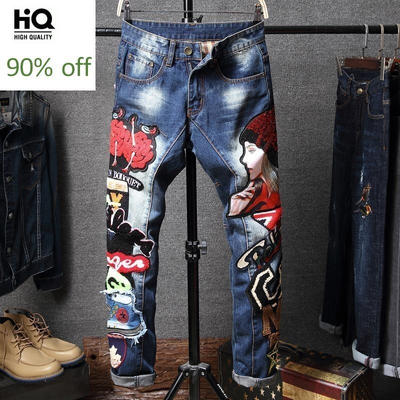 2020 Mens Fashion Korean Embroidery Tassel Denim Jeans Male Casual Appliques Straight Jeans Pants Slim Long Trousers Streetwear
