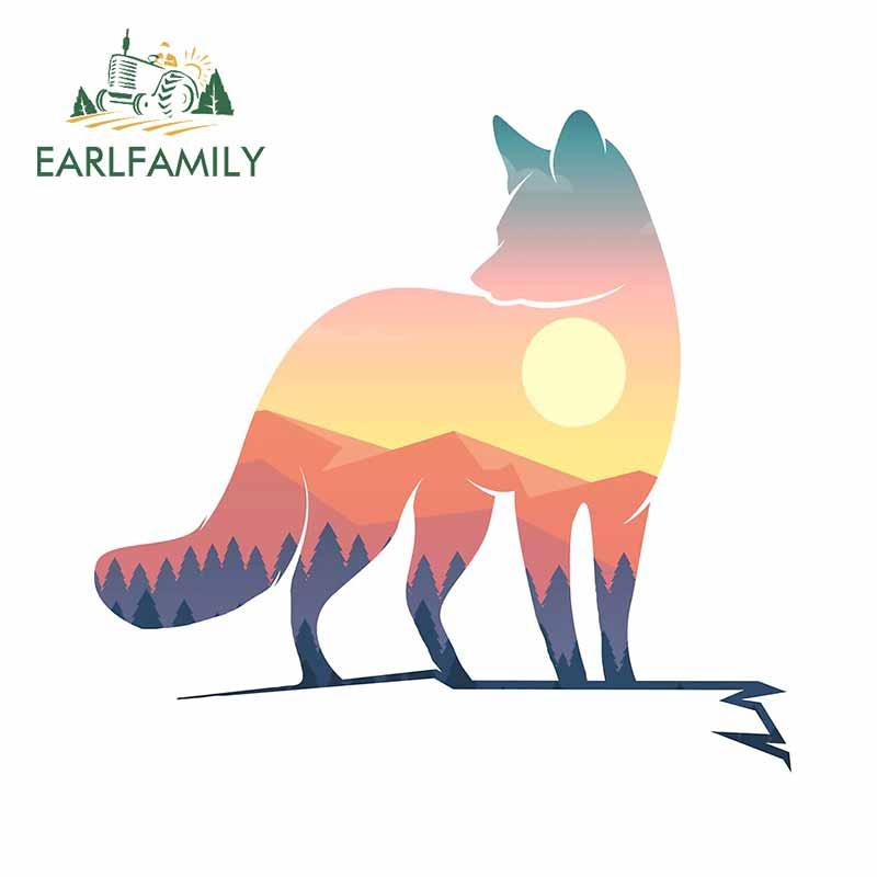 EARLFAMILY 13cm x 12,7 cm Für Cartoon Fuchs Lustige Auto Aufkleber Sonnenschutz Aufkleber Auto Zubehör Wasserdicht Custom Druck