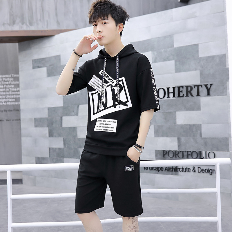 Summer Short Sleeve T-shirt Sports Set Men's Trend Korean-style Men Summer A Set Of Deft New Style Casual Two-Piece Set