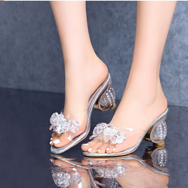 Summer Women Sandals Ladies High Heels Shoes Woman Crystal Open Toe Clear Heels Designer Fashion Casual Female Slippers New