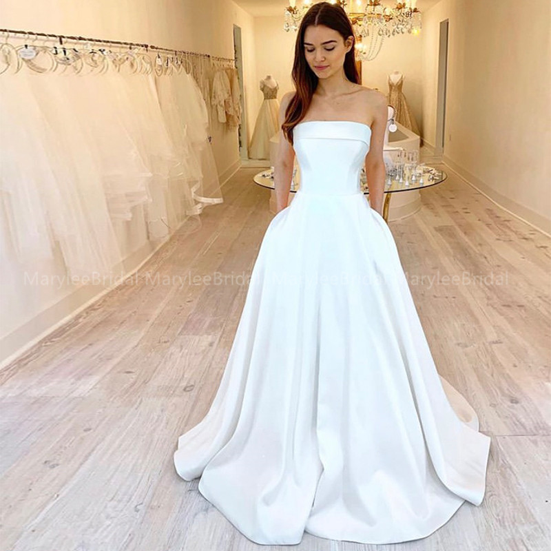 Strapless A-line Boho Wedding Dresses With Pockets White Ivory Bridal Gown Sweep Train Made To Measure Robe Mariage Wedding Gown