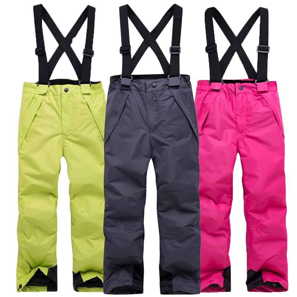 2019Children Winter Warm Breathable Waterproof Windproof Snowboard Pant Pantalones Snowboard Hombre Candy Color Outdoor Ski Pant