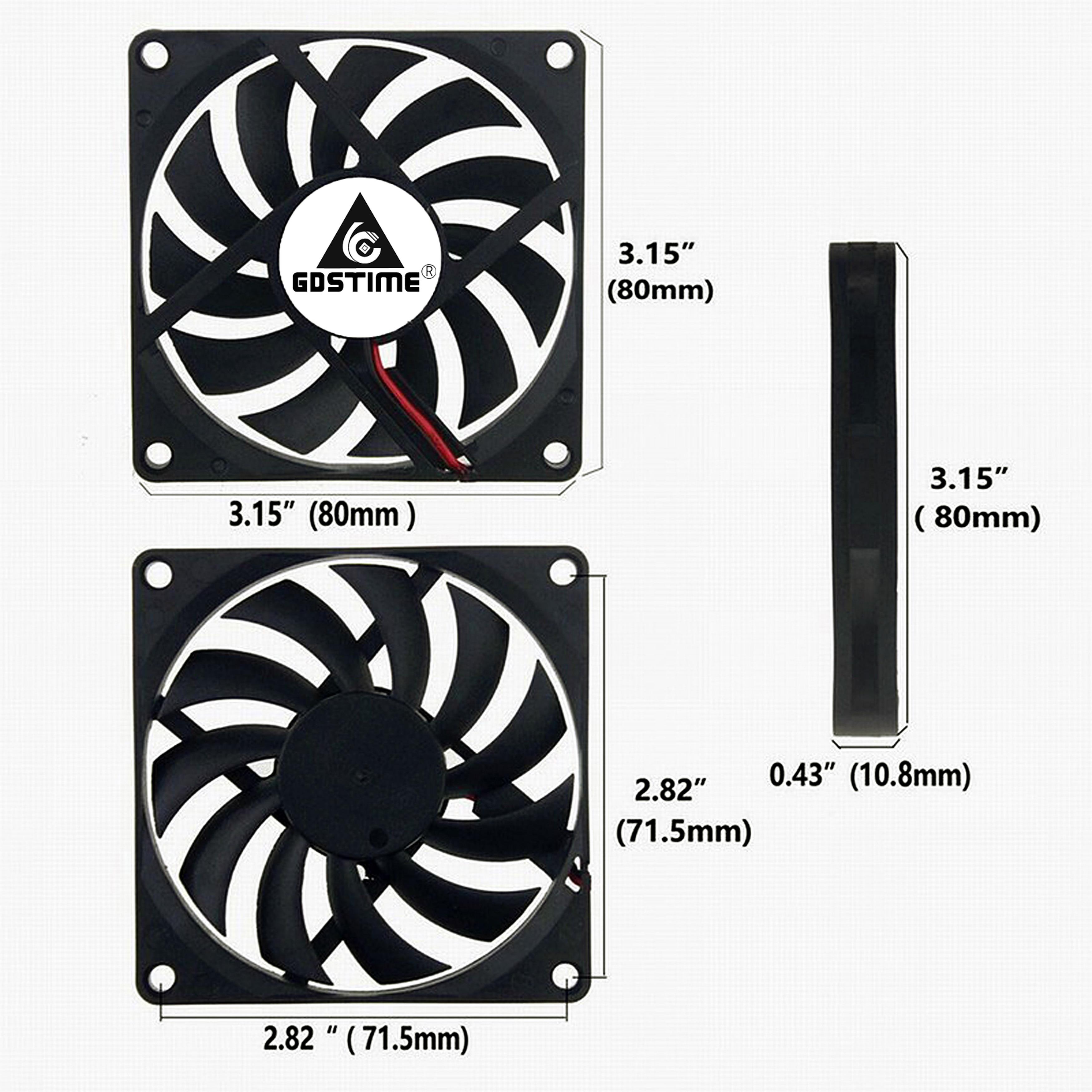 Купить с кэшбэком 1Pcs Gdstime DC 5V 12V 24V 2PIN 3PIN USB 80MM 80x80x10mm Dual Ball PC Brushless Axial Cooling Fan 8010 8CM Laptop CPU Cooler Fan