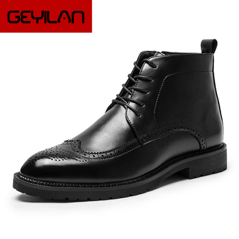 Mens Dress Boots Brogue Shoes Men Ankle Boots Coiffeur Leather Boots Men Winter Shoes Italian Brand Zapatillas Mujer Casual Buty