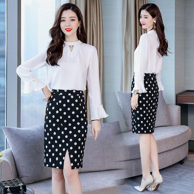 Of Slimming Slim Fit Versatile Elegant Casual Long-sleeve Suit/Suit Skirt 2019 Spring Trend Simple PCs