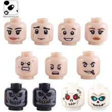 Figuras da cidade rosto cabeça corpo peças moc acessórios blocos de construção soldados modelo feminino ou masculino tijolos emocionais crianças brinquedos
