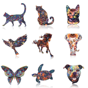 Acrylic Printing Animal Brooch Lovely Dog Cat Bird Horse Elephant Butterfly Badges Pin Collar Pins Women Men Jewelry Best Gift