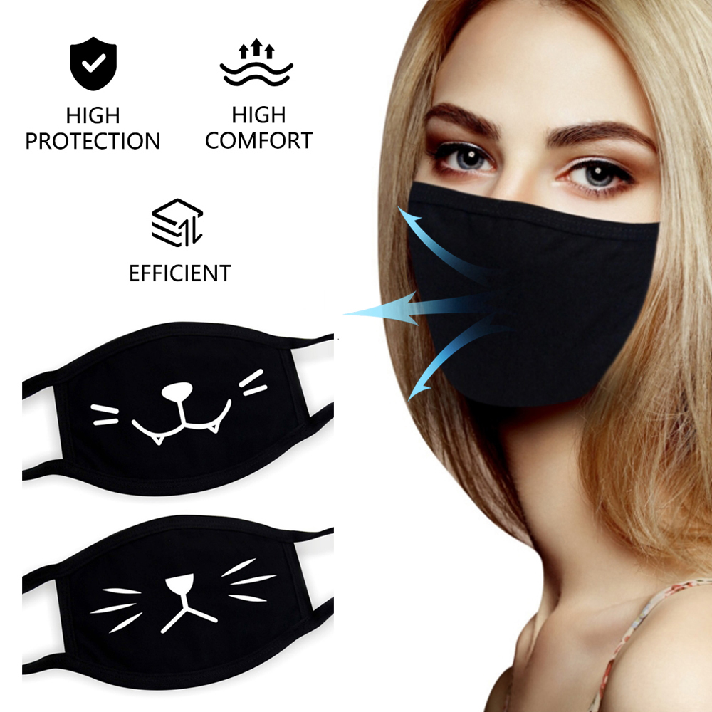 Black Face Mask Reusable Washable Fabric Cotton Protective Mask With Print  Scarf Fashion Funny Designer Multiple Mask Adult
