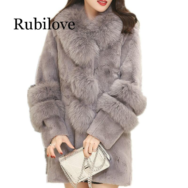 Winter Female Sheepskin Coats High Quality Women Warm Faux Fur Coat Fox Fur Collars Snap Slim Furs Jacket Plus Size