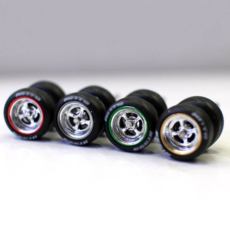 New 1/64 Scale alloy <font><b>car</b></font> <font><b>model</b></font> rubber modified <font><b>wheel</b></font> tire <font><b>wheel</b></font> dice toy Vehicles General Change Accessories fine display image