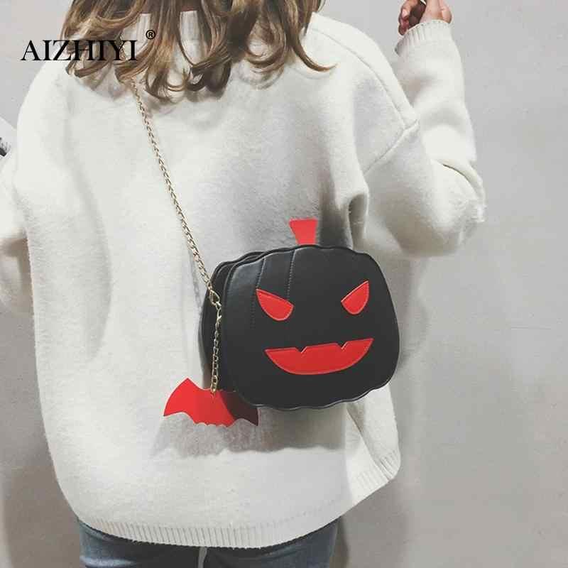 2019 Новый Harjuku цепи 3D тыквы забавная сумка для женщин, костюм на Хэллоуин для девочки, сумка милые вечерние сумки из натуральной кожи с подвеска «летучая мышь»