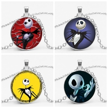 2019 New Christmas Night Scared Jack Glass Pendant Necklace Electric Shock Skull Time