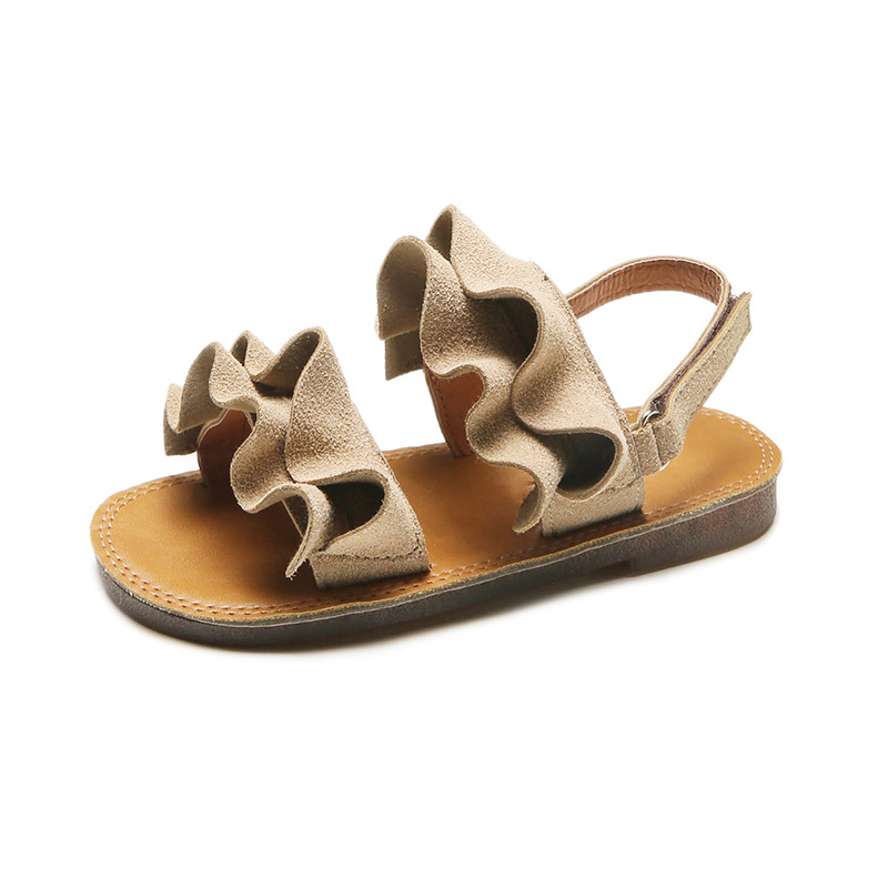 Fashion Girls Beach Sandals Casual Lotus Leaf Comfortable Soft Bottom Hook & Loop Beach Shoes For Kids Children's Toddler Flats