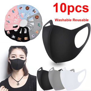 10pcs Black Mouth Mask Reusable Mask Washable face shield Masque Face Mask Cloth