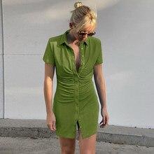 Mini robe Sexy et Slim pour femmes, verte, robe de soirée, boîte de nuit, col rabattu, boutons, robes courtes, femme élégante, S