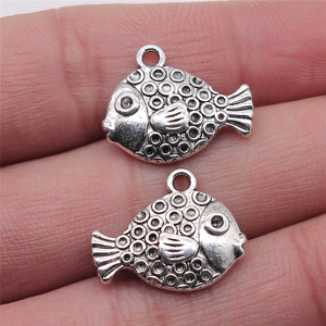 Подвески в виде тропической рыбы, кулон, сделай сам, ювелирное изделие, антикварное серебро, цвет 16x20 мм, 4 шт./лот