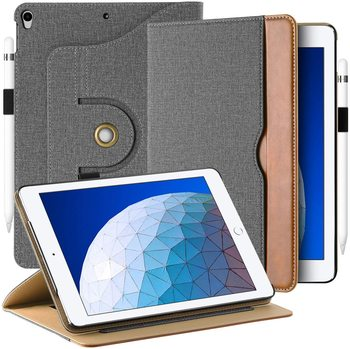 With Pencil Holder Case For iPad AIR 3 Pro 10.5 360 Degree Rotation PU Leather Multi Angle Stand Function  Auto Wake/Sleep Grey цена 2017