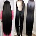 Парики из человеческих волос, длинные прямые, 40 дюймов, 13 х4 дюймов
